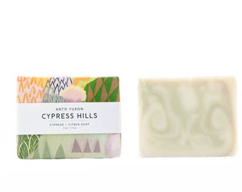 Cypress Hills Natural Soap - citrus soap, body soap, french green clay, cypress, lime, soap