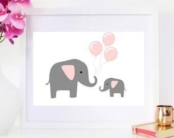DIGITAL DOWNLOAD, Elephant art, Nusery wall decor, Elephant print, Nursery art, Pink Elephant, Nursery Elephant, Elephant ballon, Elephant