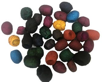 Hand Dyed Silk Cocoons, Silk Cut Cocoons, Mulberry Silk Fibres – Pack of 40