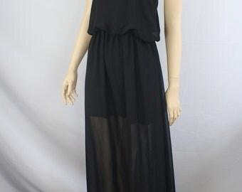 90s dress, vintage 1990s dress, black full length dress, sheer blouson dress minimalist, black maxi dress, sleeveless sheer 1990s M medium