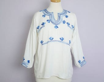 Vintage White + Blue Embroidered Tunic Top M/L