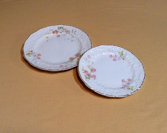 Set of 2 Plates, Small and Medium - Rose Point by Steubenville, Embellished Floral & Gold Trim - Discontinued Pope Gosser - Wedding Serving