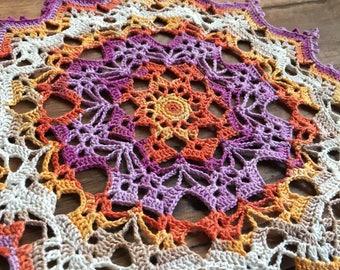 """Crochet doily, colorful lace doilie, 9 1/2"""""""