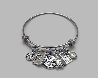 Hawaii Charm Bracelet, Hawaii Vacation, Hawaii Jewelry, Tropical Vacation, Camera Charm, Seashell Charm, Beach Charm, Stainless Steel Bangle