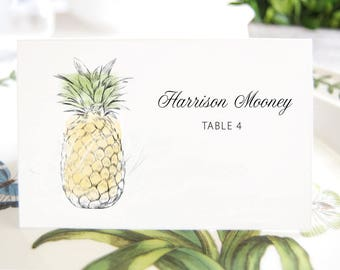 Pineapple Folded Place Cards BLANK, Hawaiian Beach Themed Wedding, Placecards, Seating Cards, Escort Cards, Day of Event  (Set of 25 Cards)
