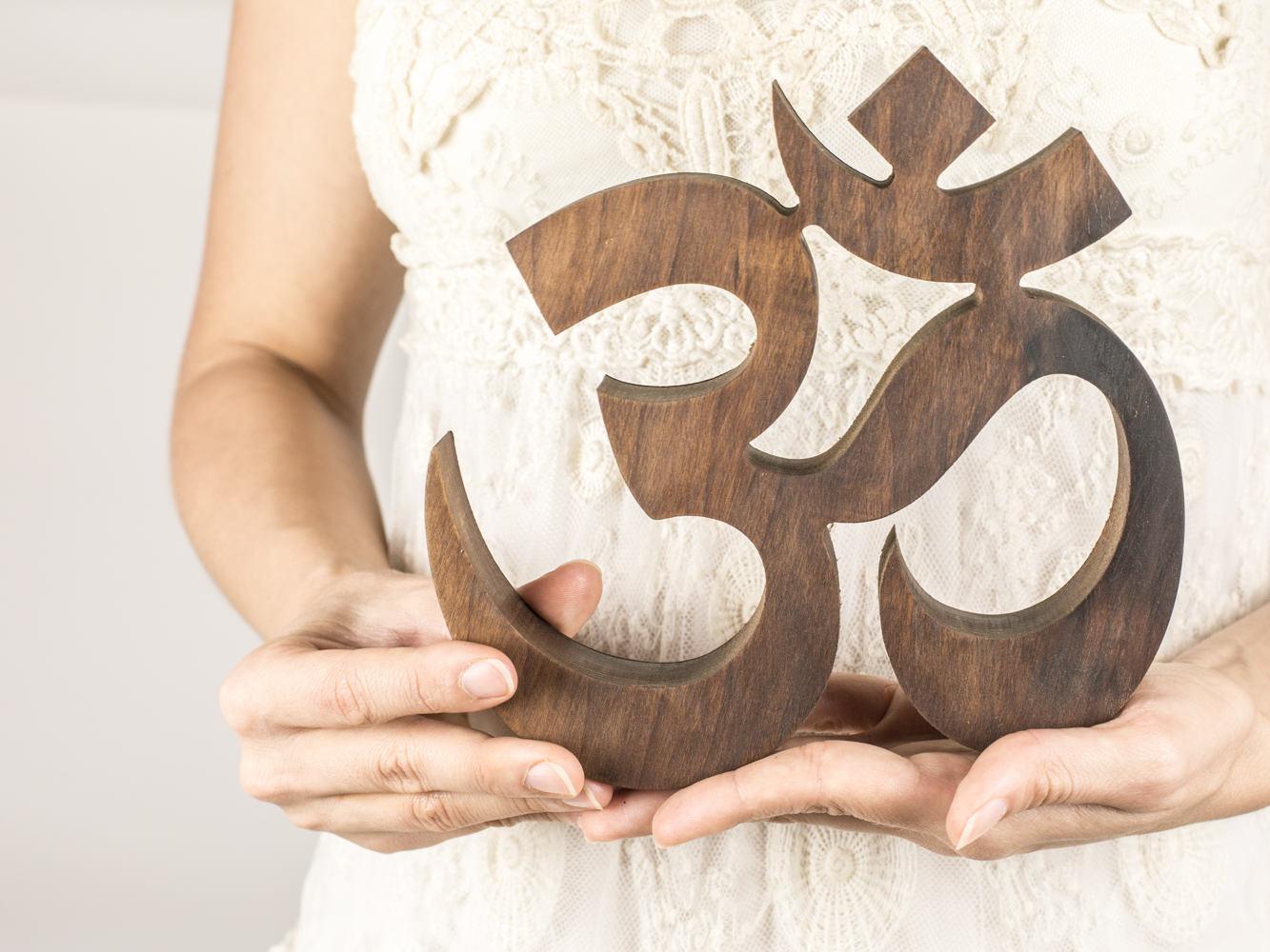 Om symbol wooden namaste om wall hanging yoga decor zoom amipublicfo Images