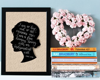 Jane Eyre Quote Print, Charlotte Bronte Quote Print, Literary Wall Art, Literary Gift, Book Quote, Literary Prints, Inspirational Wall Art