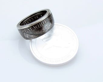 Great White Shark Coin Ring, Tiger, Hammerhead, Silver, Unique Engagement Ring, Wedding Ring, Coin Jewelry, Mens, Band, Mans, Rings