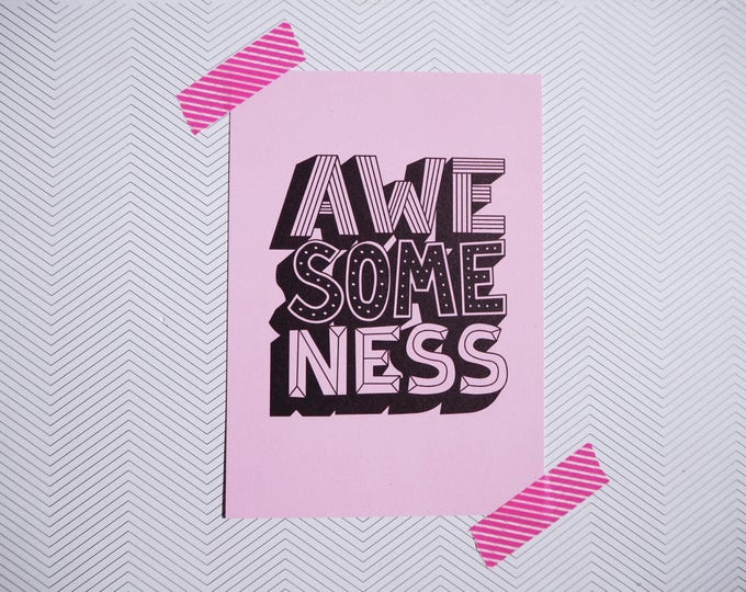 AWESOMENESS millennial pink hand drawn typographic - A6 postcard