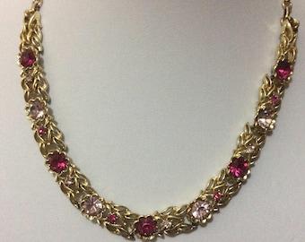 Vintage Jewelcraft pink crystal necklace