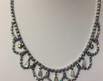 Vintage 1950's Rhinestone aurora borealis Mother of pearl necklace