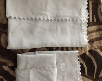 "2 Antique 1880 pillowcases 37"" x 31"" pure linen Handmade scallops edges Monogram For shabby chic, French country ,farmhouse home decor"