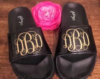 Monogrammed Slip ons/ beach sandals