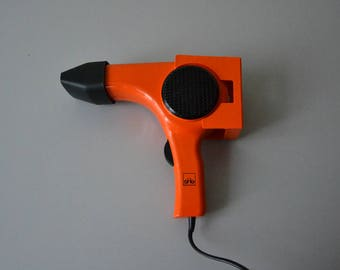Vintage orange hair dryer SHG / wall mount / 70's