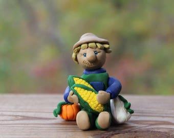 Harvest Scarecrow Figurine - Polymer Clay Scarecrow Figurine - Scarecrow with Vegetables - Autumn Decoration - Handmade Scarecrow Figurine
