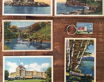 """Gorgeous Vintage """"Maine"""" Linen Postcards"""