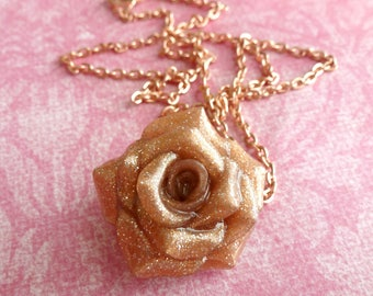 Valentines Day Rose Gold Rose Necklace Polymer Clay Rose Handmade Jewelry