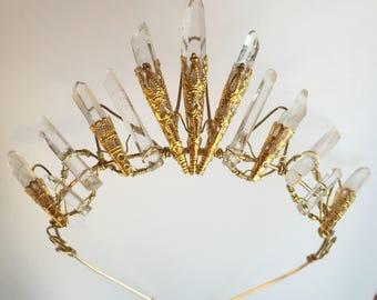 The AMBER Crown - Magical Natural Rock Crystal Quartz  Crown Tiara - Ethereal Alternative Wedding Bridal Headdress