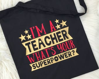 Personalised Teacher Bag, Teacher Reusable Bag, Teacher Gift, Teacher Christmas Gift, End of Year Gift, Tote Bag, Uk
