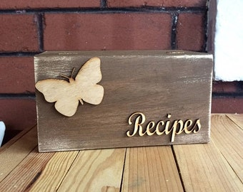 Wood recipe box - rustic distressed recipe box butterfly design
