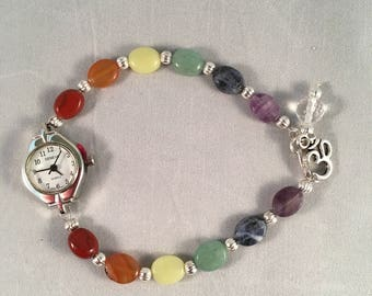 "CHAKRA Watch with Genuine Gemstone Beads 8 1/2"""