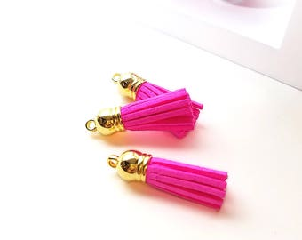 Tassels - Tassels Charms - 10 Small Tassels - Neon Pink Tassels - Jewelry Tassel - Tassels for Purses - Decorative Tassels for Diy - TC-G051