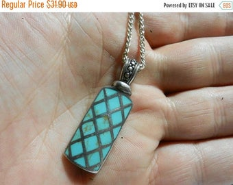 Summer Sale Vintage Sterling Silver & Turquoise Pendant and Chain