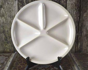 Vintage French White LE CREUSET Fondue/ Pierrade Divided Dinner Plate Ceramic