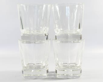 1960s Mid Century Square Bottom Rocks Glasses by Libbey (4) | 60s Vintage Heavy Old Fashioned Glasses, Set of Four