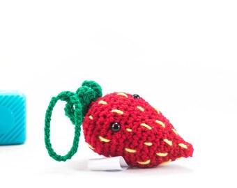 Car accessory, strawberry decoration, Crochet strawberry fruit car buddy, crochet fruit, amigurumi, stuffed strawberry