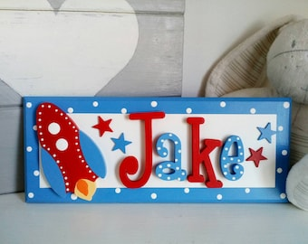 Rocket Name Plaque. Personalised bedroom door or nursery sign. Space theme, wooden stars.