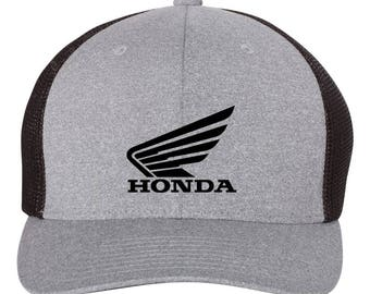 HONDA Wings Motorcycle  Trucker  Flex Fit Hat **ROUND Bill**  ***Free Shipping in BOX***