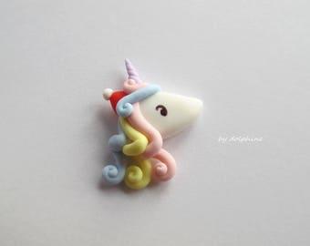 Christmas unicorn, Unicorn charm, Hair bow centre, Flat back, Clay unicorn, Craft embellishment, Scrapbooking, Wood craft decor, Kawaii