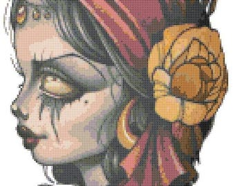 "dead girl sugar skull Counted Cross Stitch sugar skull pattern modern cross stitch needlepoint - 9.43"" x 14.00"" - L1490"