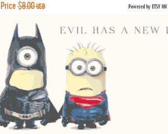 "minions superman and batman Cross Stitch minion Pattern needlework needlepoint Kräiz Stitch korss   - 21.71"" x 11.43"" - L372"