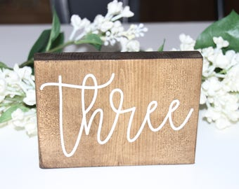 hand painted double sided table numbers, table numbers, wood table numbers, calligraphy wedding, table decorations, wedding table numbers