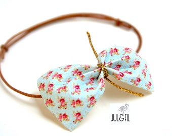 Leather strap bow liberty organic linen