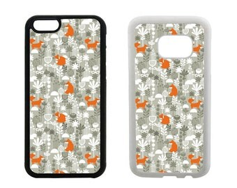 Fox phone case iPhone 6 6S SE 5S 5C 7 8 Plus X 5 4S, Samsung Galaxy S8 Plus, S7 S6 Edge, S5 S4, Note 5 Edge, rubber bumper foxes cover. R205