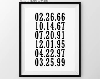 What a Difference A Day Makes Important Dates Sign Family Dates to Remember Special Dates Print Birthdays Grandchildren Birthdates Keepsake