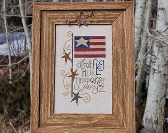 Cross Stitch Sampler Reclaimed Wood Frame