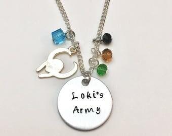 Loki's Army Marvel Tom Hiddleston Thor Ragnarok Avengers Charm Necklace