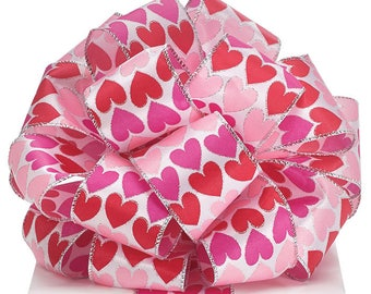 "2.5"" x 20yds Valentine Hearts Satin Wired Ribbon/Wreath Supplies/Valentines Day Decoration/9729268"