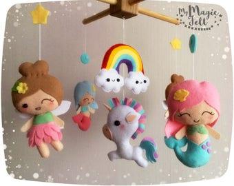 Baby mobile Fairies rainbow Baby mobile Mermaids crib mobile Magic nursery mobile Unicorn crib mobile Fairies baby girl mobile