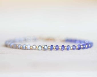 Labradorite & Tanzanite Bracelet with Rose Gold Fill or Sterling Silver, Beaded Mystic Labradorite Bracelet, Delicate Tanzanite Jewelry