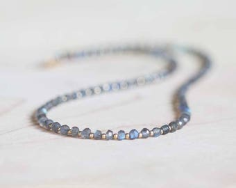 Beaded Labradorite Necklace with Rose Gold Fill or Sterling Silver, Delicate Beaded Layering Gemstone Necklace, Labradorite Jewelry