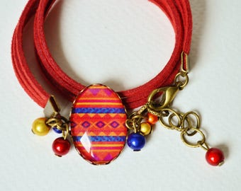 Bracelet red ethnic cabochon red, blue, yellow