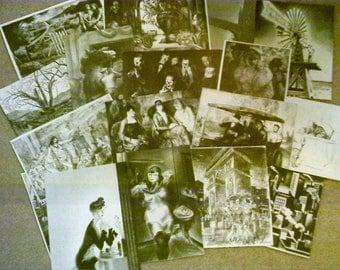 VINTAGE ephemera PAPER lot-B/W (item#405) SCRAPBOOKING art collage supplies