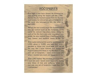 Footprints in the sand poem - Personalised  gift Print