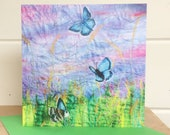 Wildflowers and butterflies card ~ butterfly gifts ~ printed art card ~ blank card ~ flowers card ~ thank you card ~ wedding card
