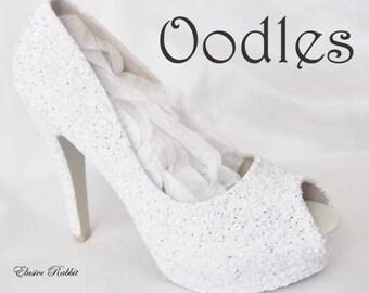 Oodles Bridal White Silver Chunky Glitter Wedding Custom Personalized Women Peep Toe Glitter Shoe High Heel Stiletto Thin Size 3 4 5 6 7 8